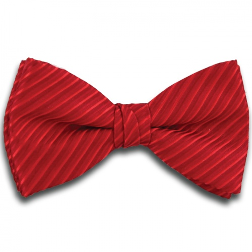 Polyester Pre-Tied Red Bow Tie with Diagonal Stripe Design
